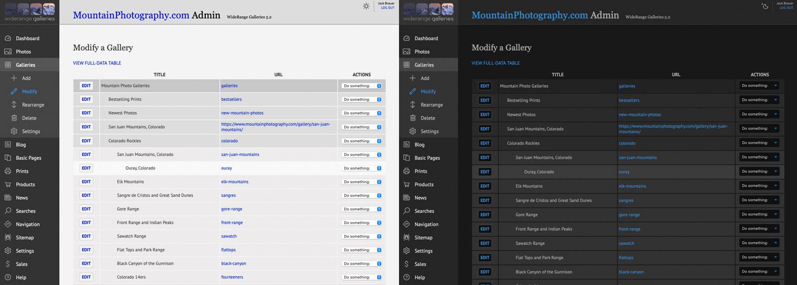 Admin control panel screenshots: Light mode & Dark Mode