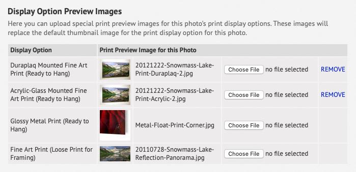 Print Previews admin screenshot