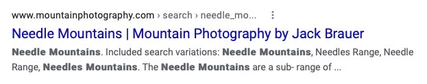 Photo search pages in Google results